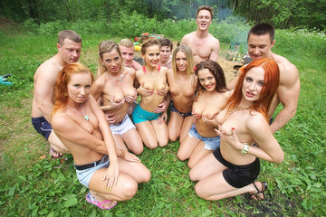 Naked and horny students go wild in the country